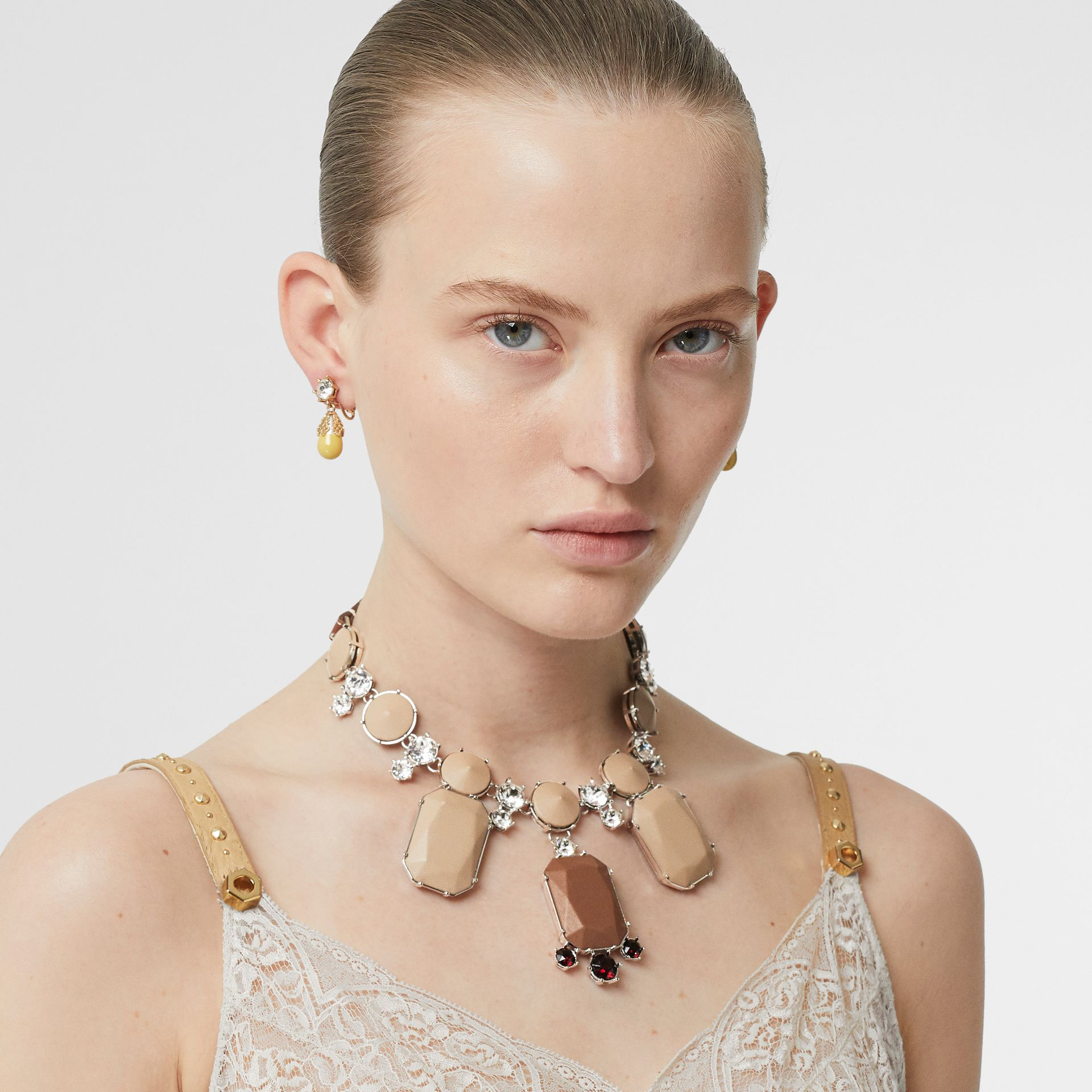 Glass, Crystal and Leather Drop Necklace in Malt Brown/honey - Women | Burberry Australia - gallery image 2