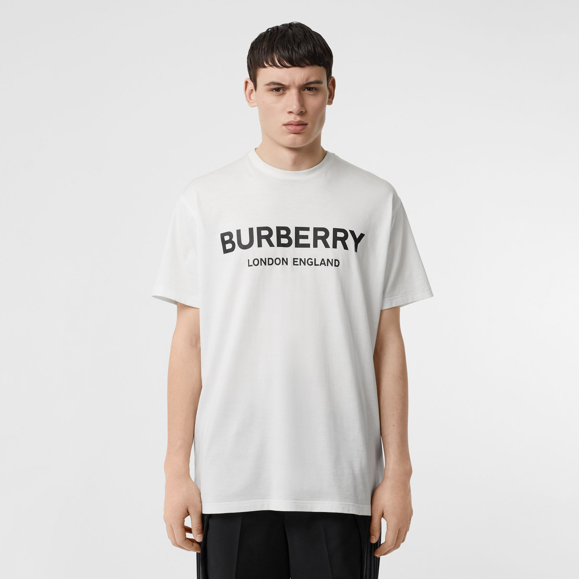 Logo Print Cotton T-shirt in White - Men | Burberry - gallery image 4