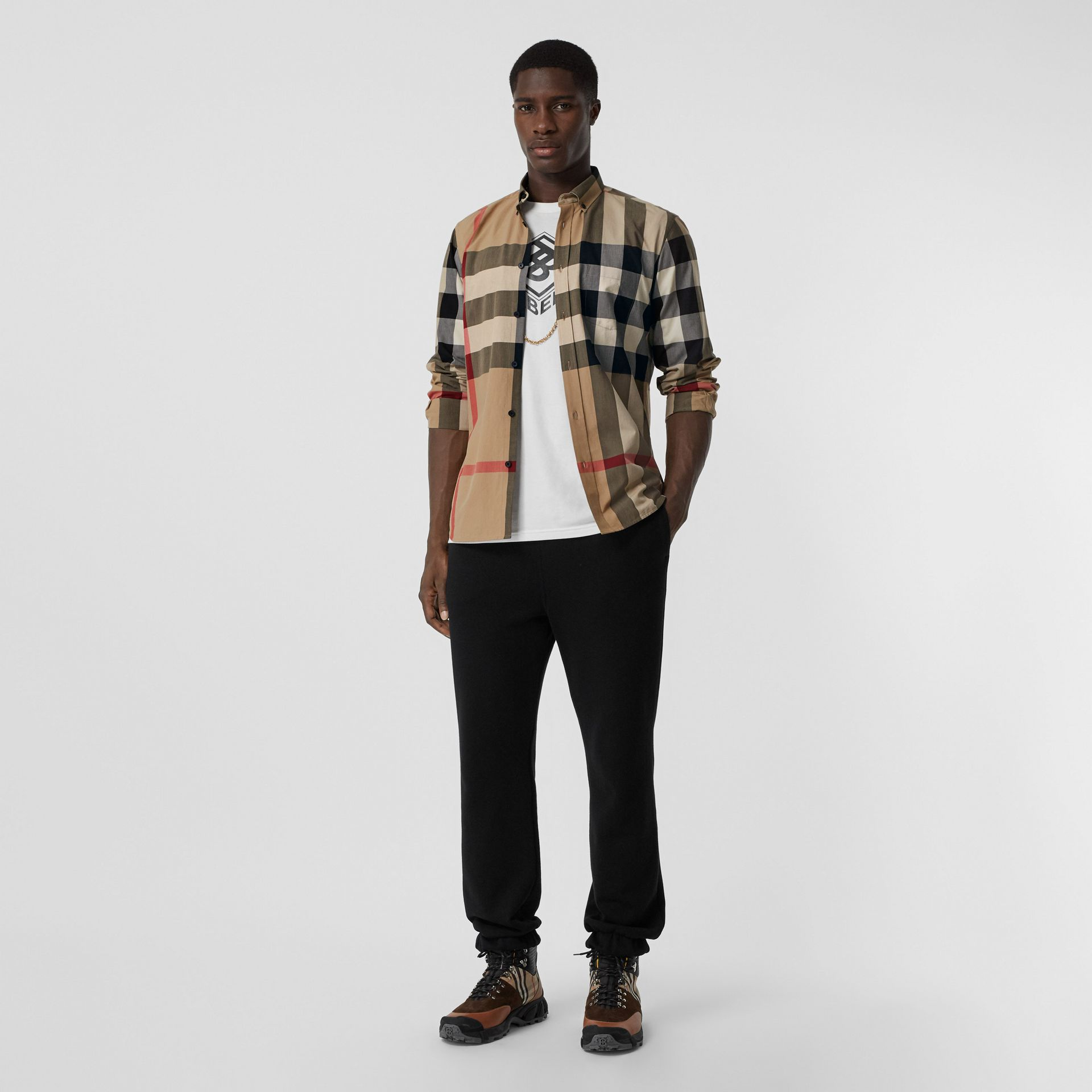 Check Stretch Cotton Poplin Shirt in Archive Beige - Men | Burberry - gallery image 0