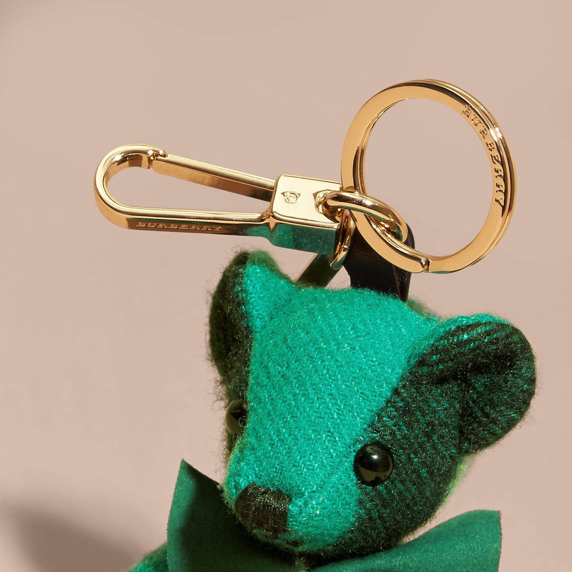Thomas Bear Charm in Check Cashmere in Emerald | Burberry - gallery image 2