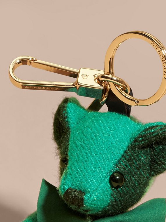 Emerald Thomas Bear Charm in Check Cashmere Emerald - cell image 2