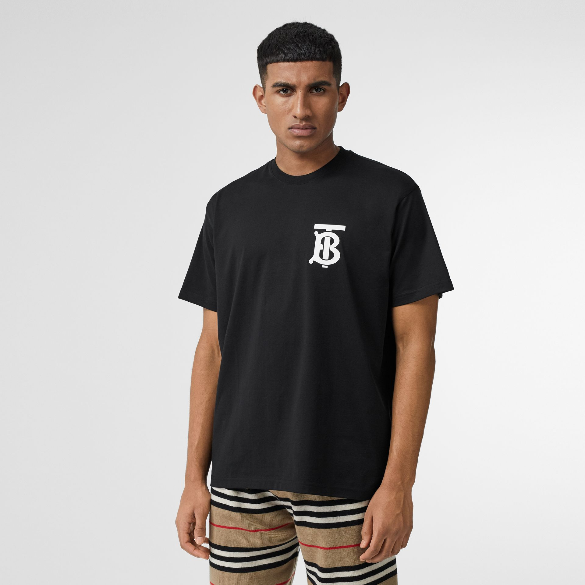 Monogram Motif Cotton Oversized T-shirt in Black - Men | Burberry Canada - gallery image 4