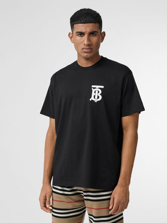 Monogram Motif Cotton Oversized T-shirt in Black