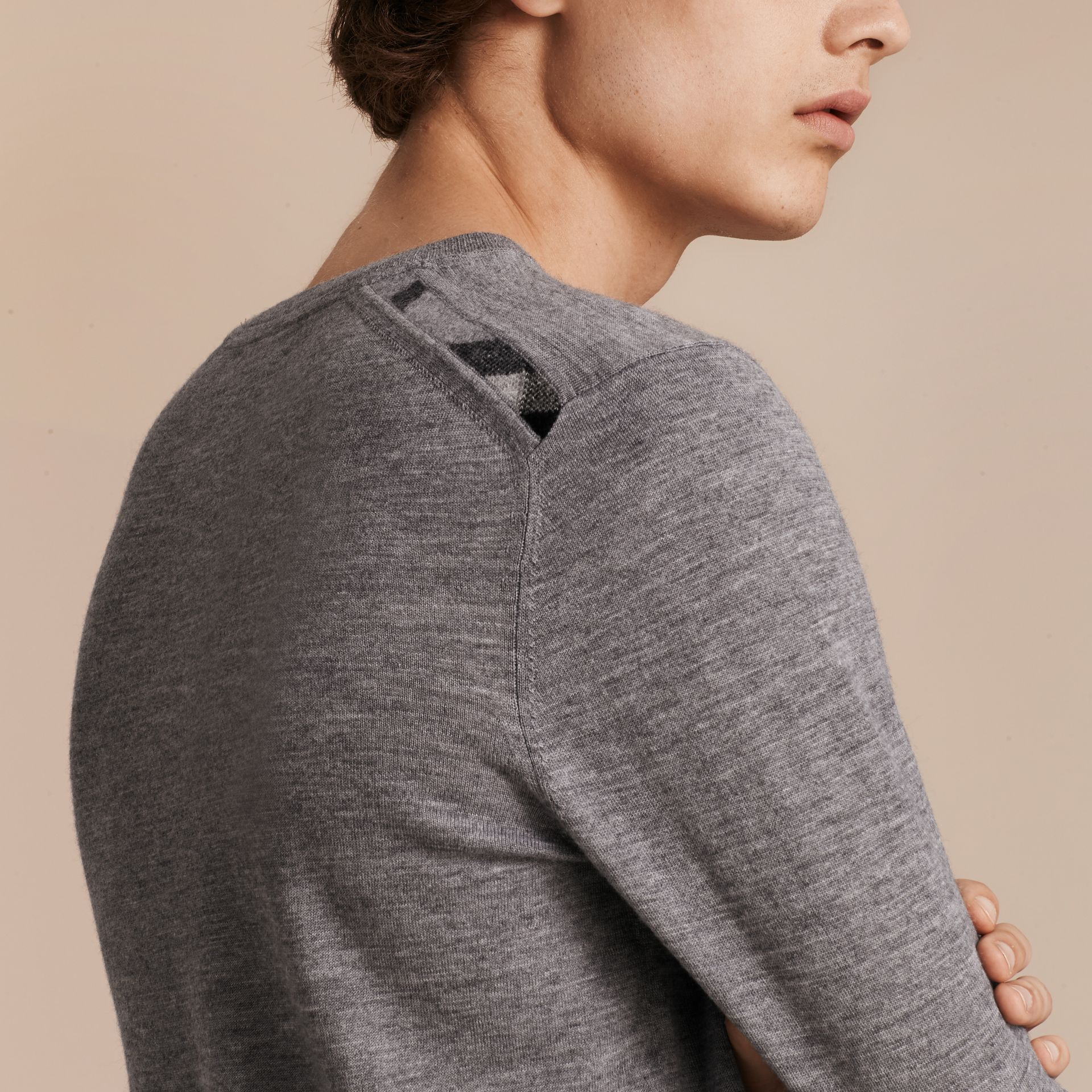 Lightweight Crew Neck Cashmere Sweater with Check Trim in Pale Grey Melange - gallery image 5