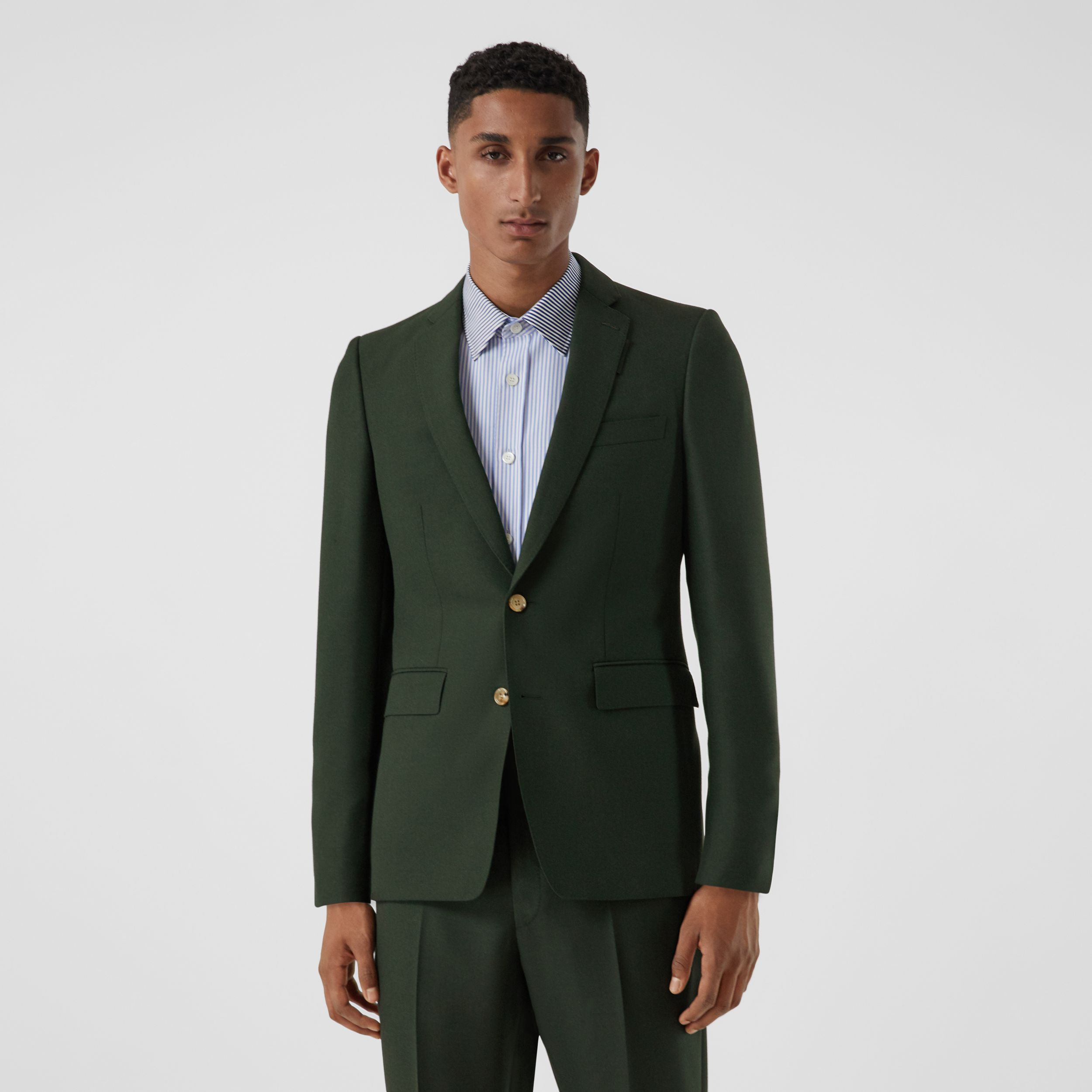English Fit Wool Mohair Tailored Jacket in Dark Forest Green - Men | Burberry - 1