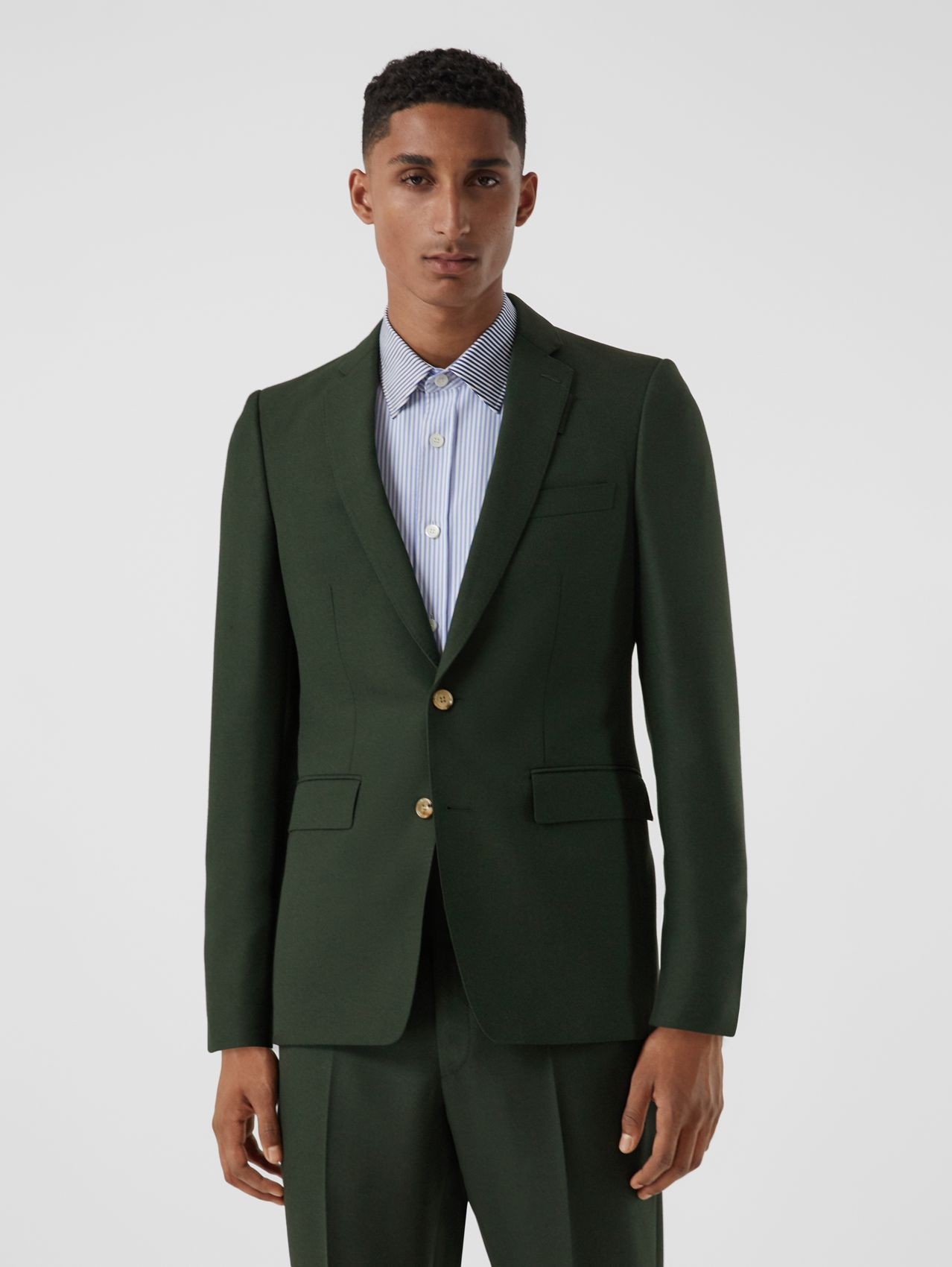 English Fit Wool Mohair Tailored Jacket in Dark Forest Green