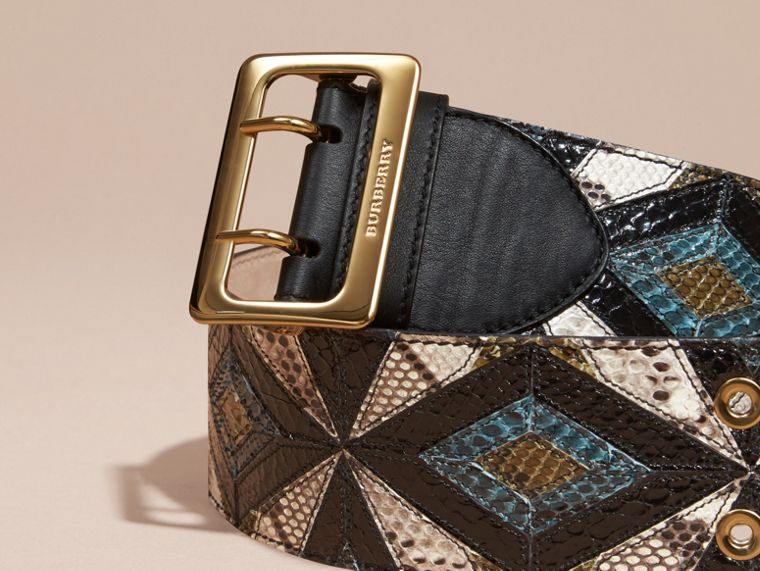 Snakeskin Intarsia Waist Belt in Mineral Blue - Women | Burberry - cell image 1