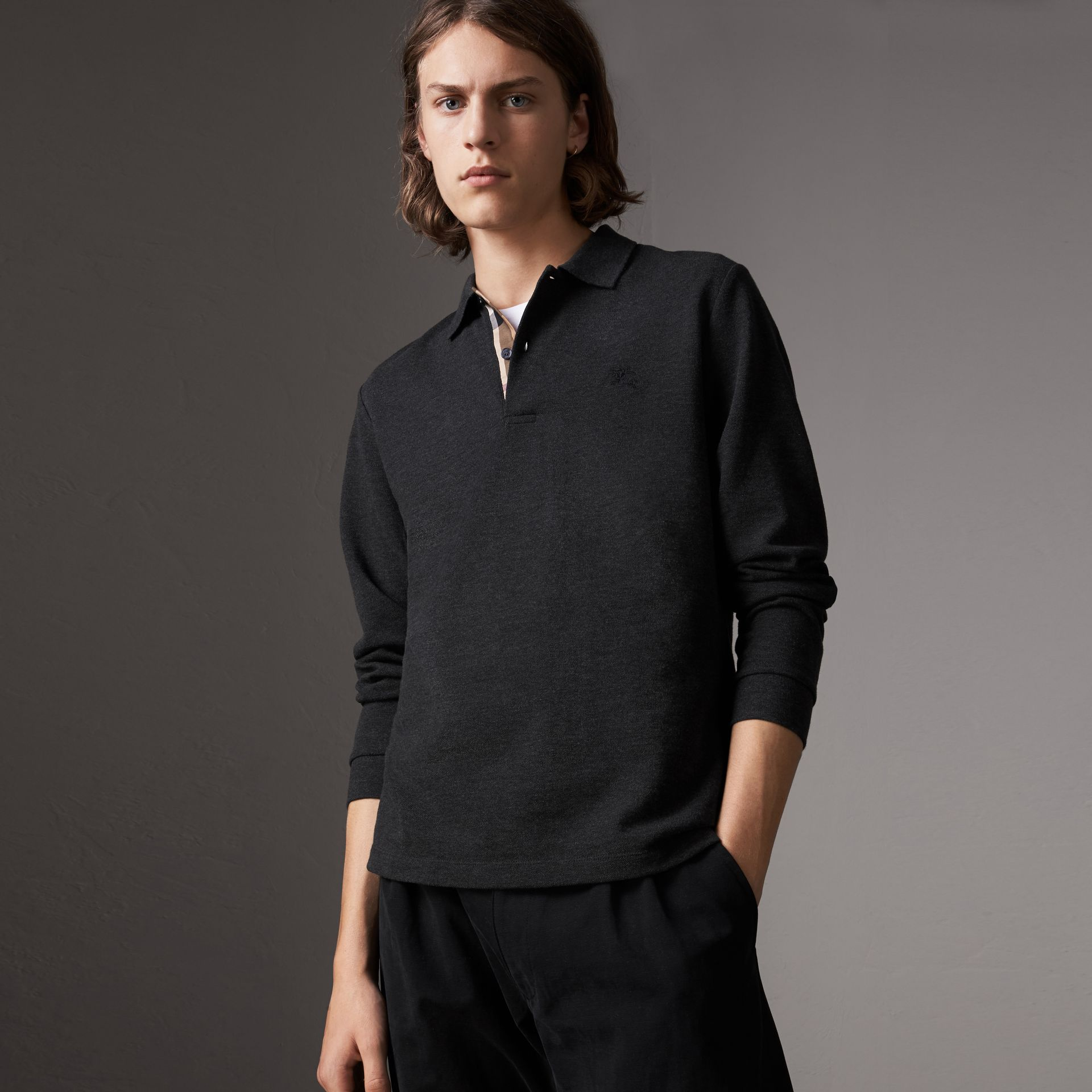 Check Placket Long Sleeve Polo Shirt in Dark Charcoal Melange - Men | Burberry - gallery image 0