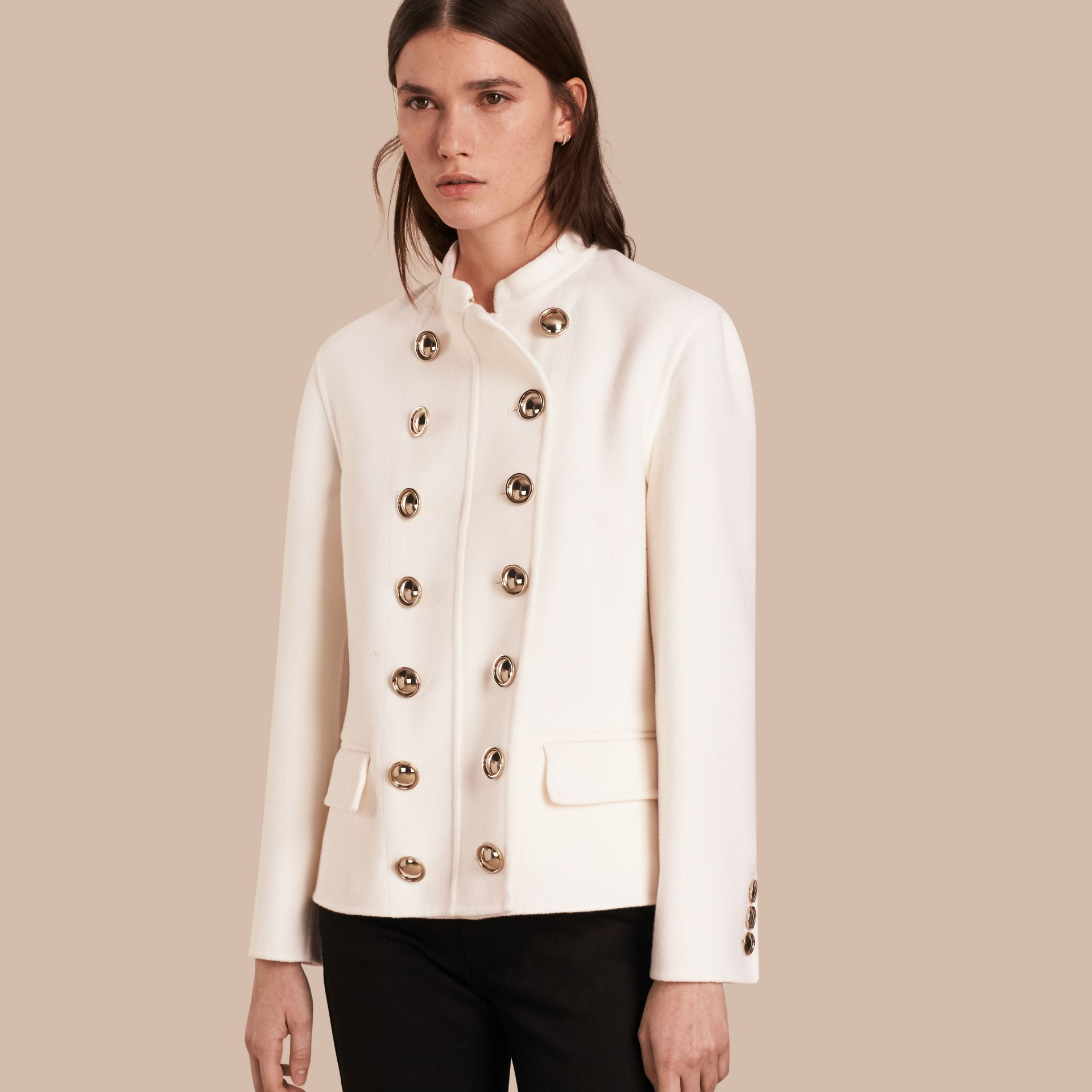 White Double-breasted Wool Cashmere Regimental Jacket - gallery image 1