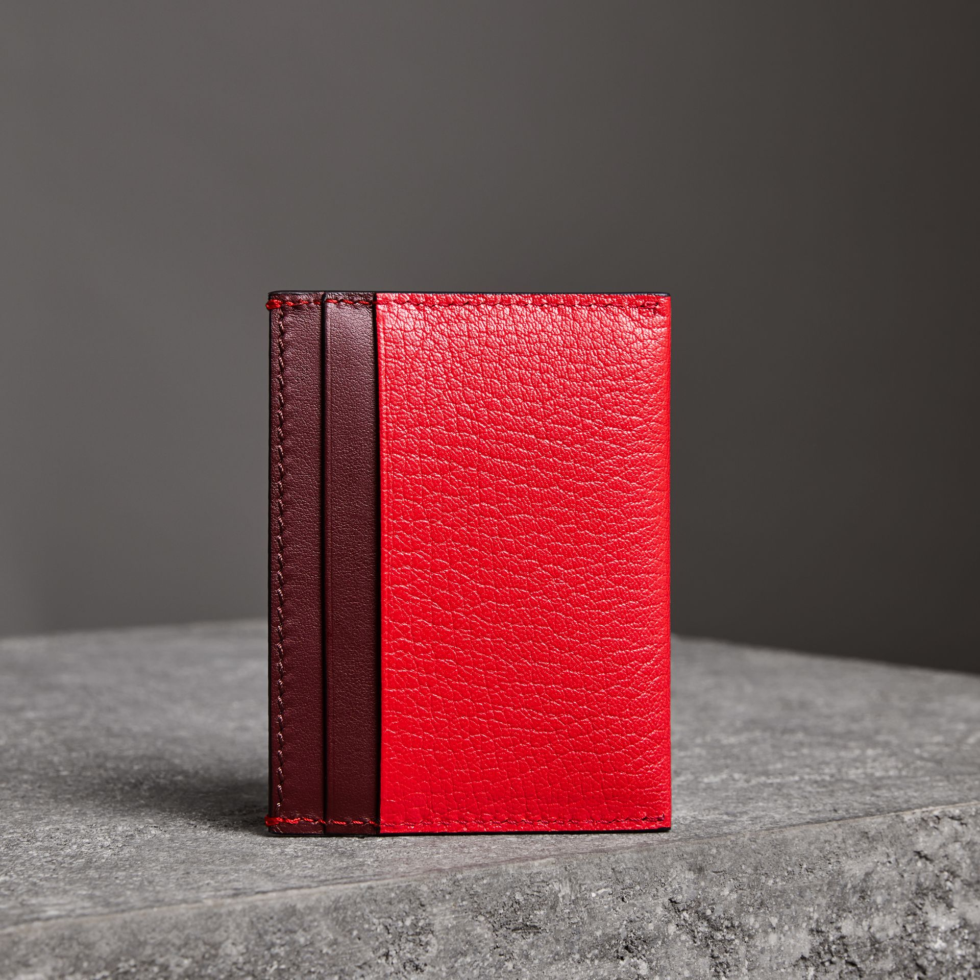 Two-tone Leather Card Case in Bright Red - Women | Burberry - gallery image 2