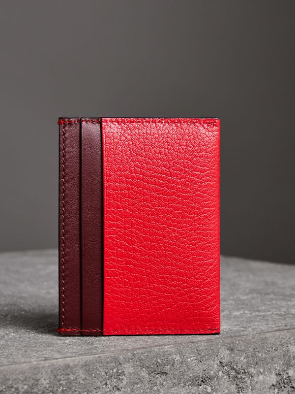 Two-tone Leather Card Case in Bright Red - Women | Burberry United Kingdom - cell image 2