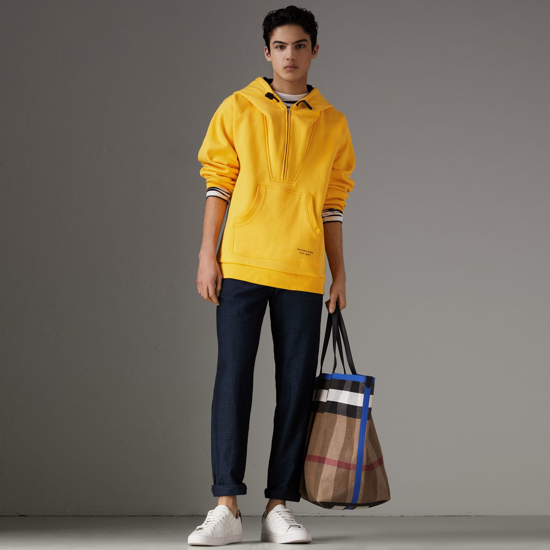 Oversized Sweatshirt Half-zip Hoodie in Bright Yellow - Men | Burberry United Kingdom - gallery image 0