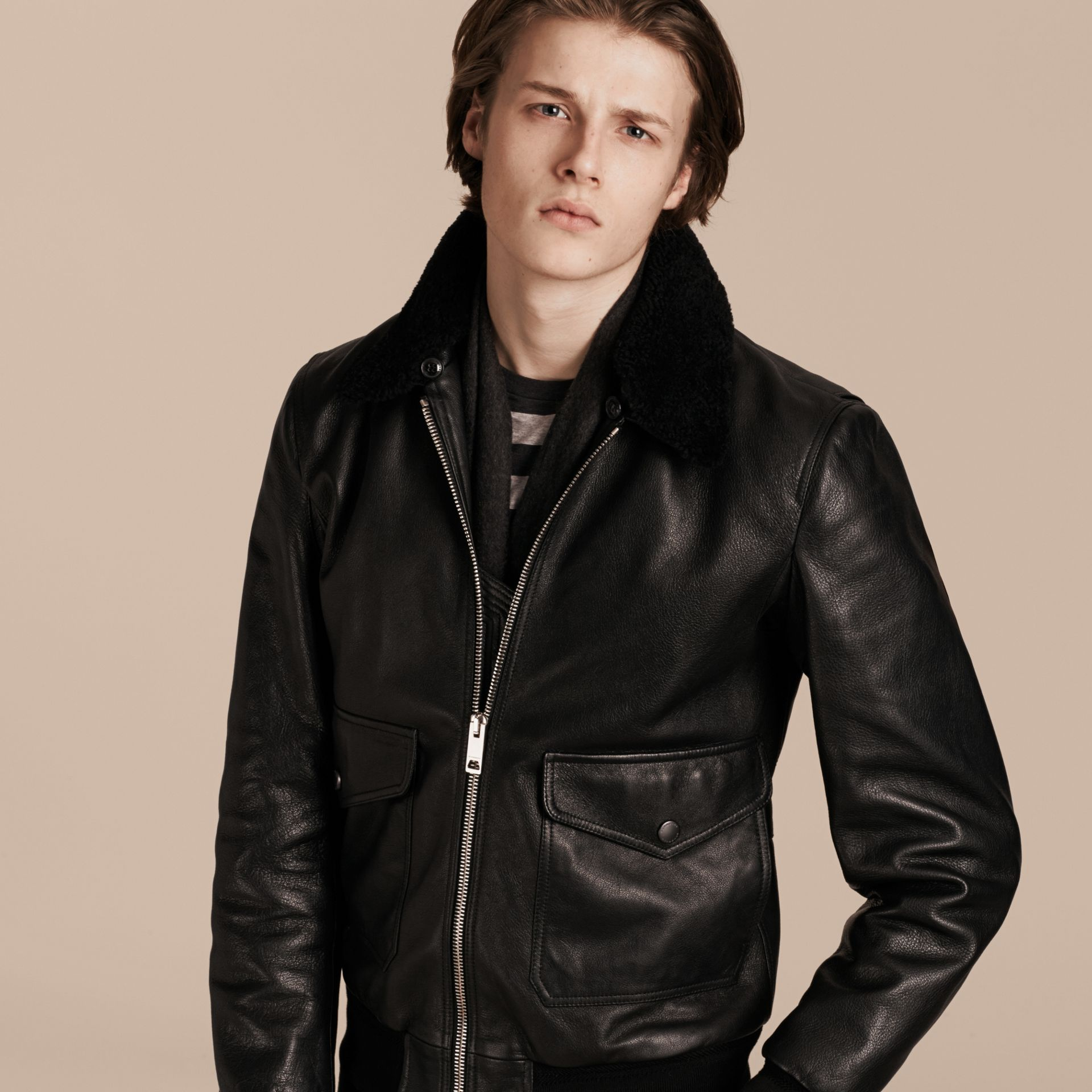 Black Leather Jacket with Detachable Shearling Collar - gallery image 5