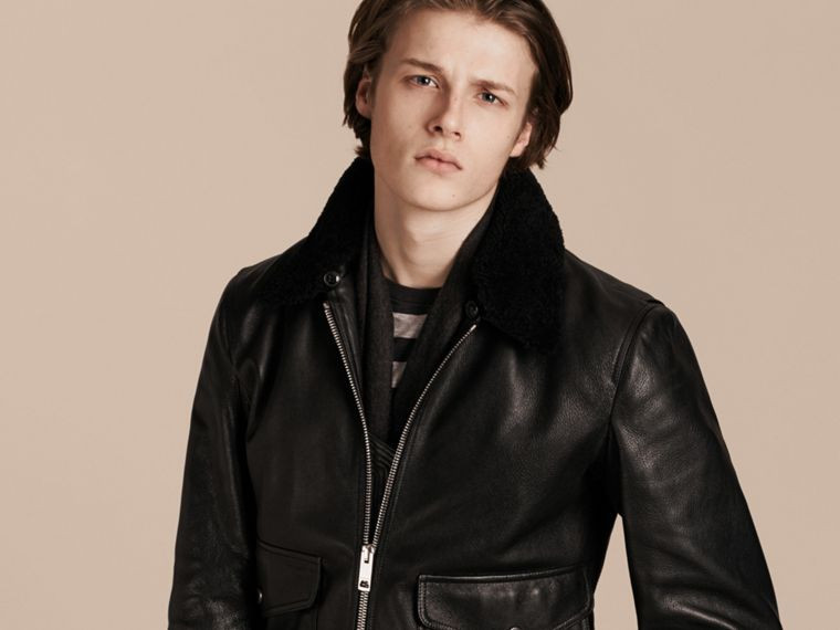 Black Leather Jacket with Detachable Shearling Collar - cell image 4
