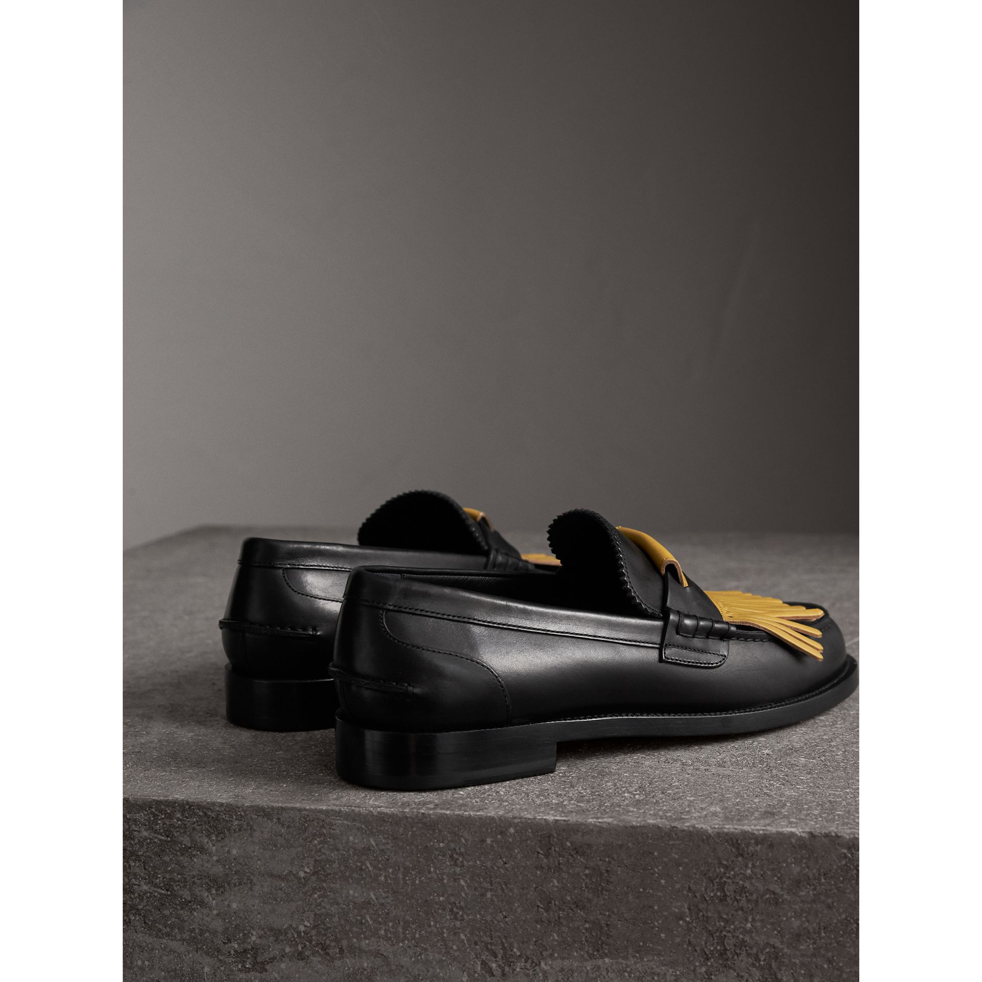 Contrast Kiltie Fringe Leather Loafers in Black/pale Saffron Yellow - Men | Burberry - gallery image 3