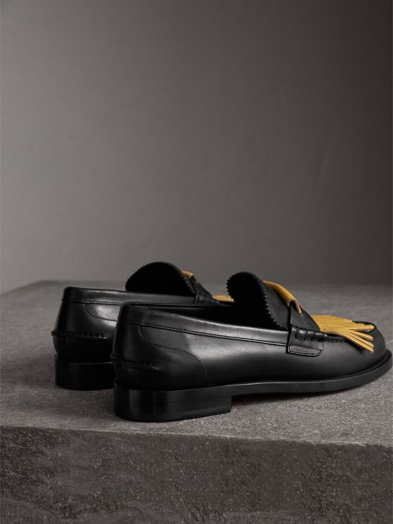 Contrast Kiltie Fringe Leather Loafers in Black/pale Saffron Yellow - Men | Burberry Hong Kong - cell image 3