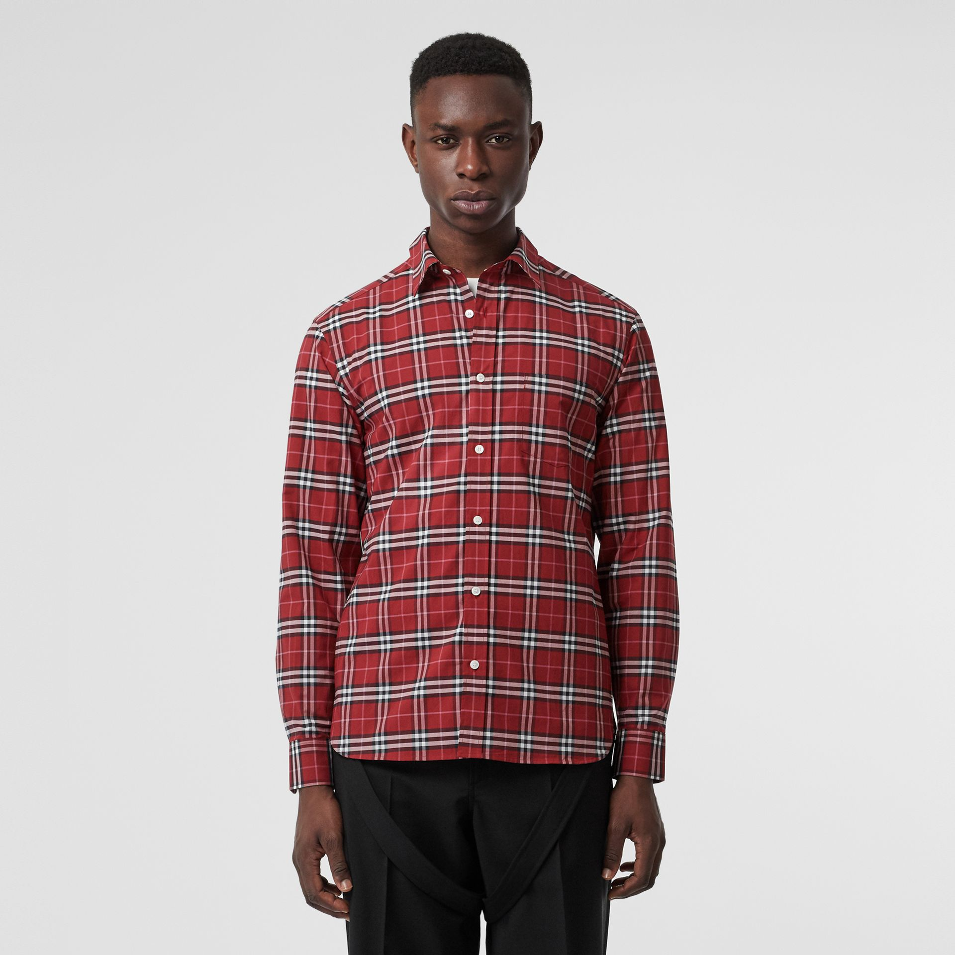 Check Stretch Cotton Shirt in Bright Red - Men | Burberry - gallery image 0