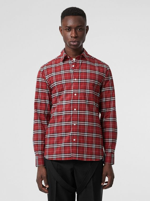 Check Stretch Cotton Shirt in Bright Red