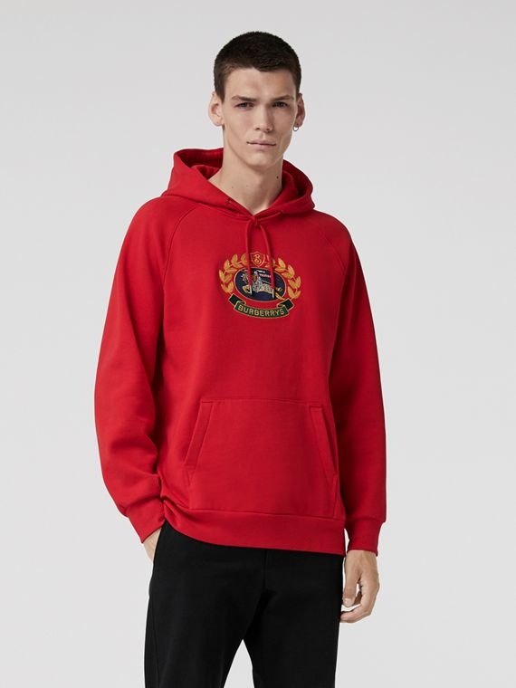 Embroidered Archive Logo Jersey Hoodie in Bright Red