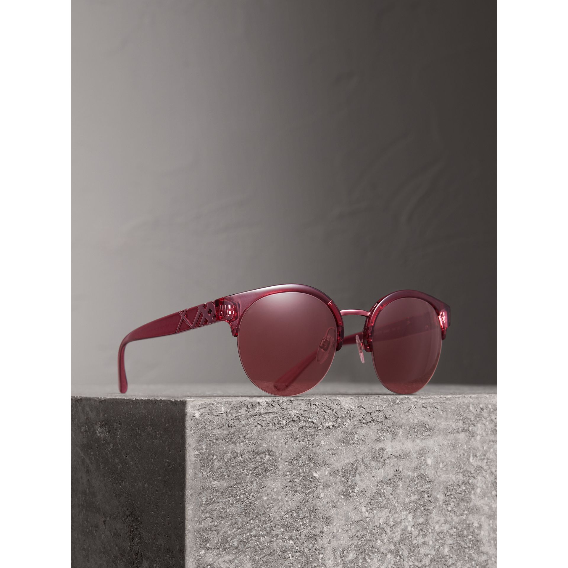 Check Detail Round Half-frame Sunglasses in Burgundy - Women | Burberry United States - gallery image 0