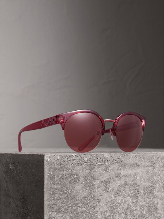 Check Detail Round Half-frame Sunglasses in Burgundy