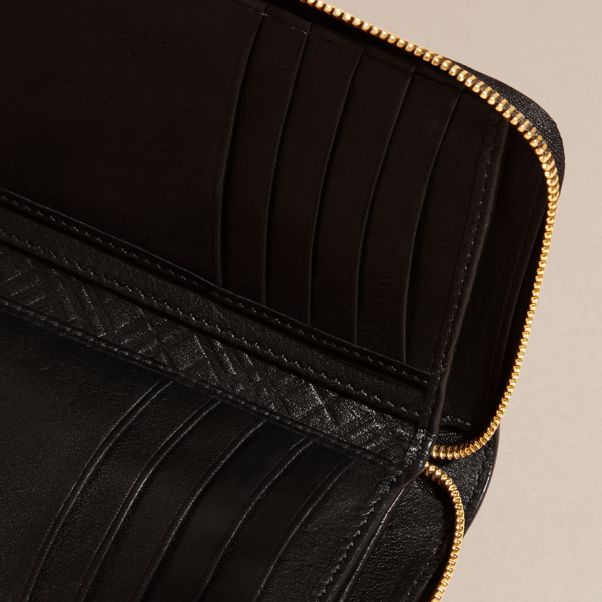 Patent London Leather Ziparound Wallet in Black - gallery image 5