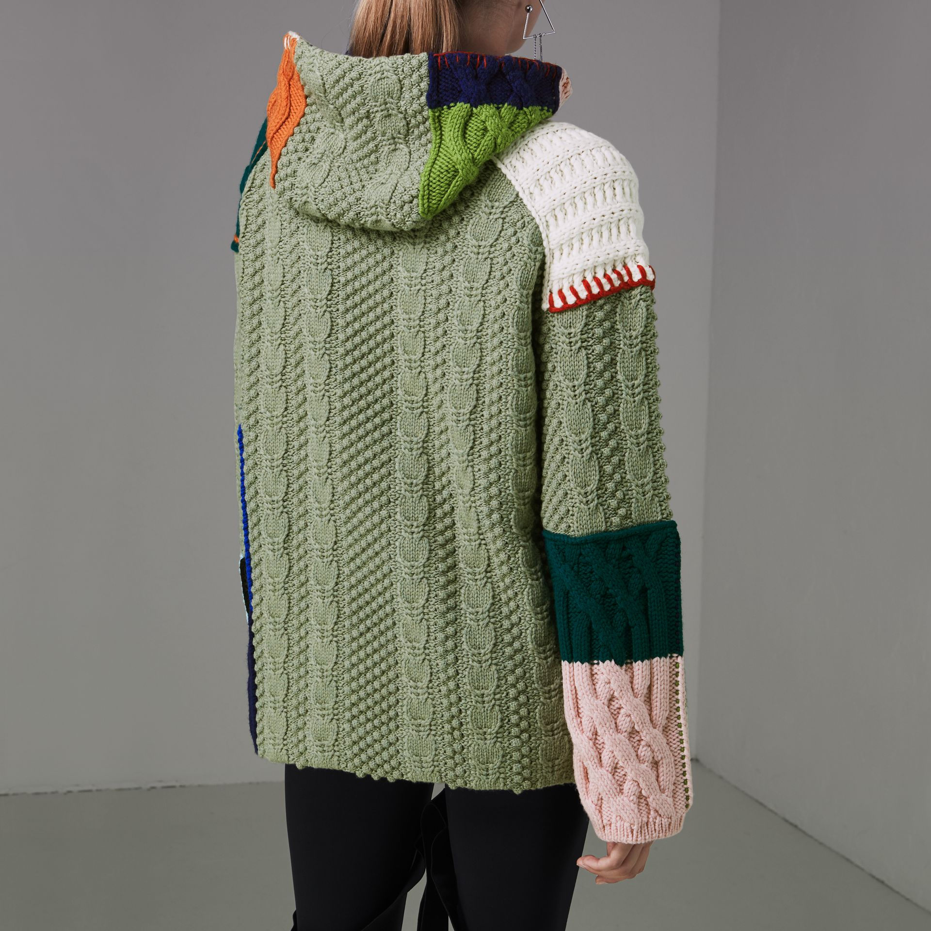 Patchwork Wool Cotton Blend Hoodie in Multicolour - Women | Burberry - gallery image 2