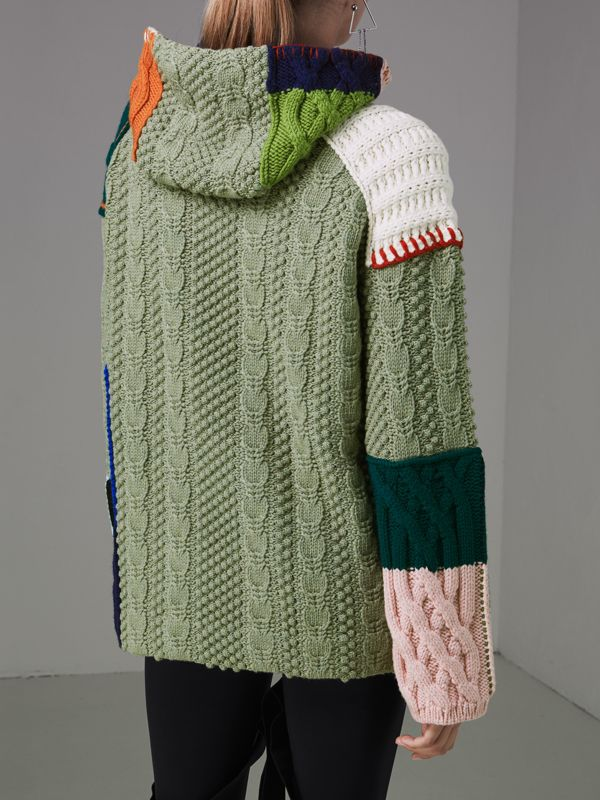 Patchwork Wool Cotton Blend Hoodie in Multicolour - Women | Burberry - cell image 2