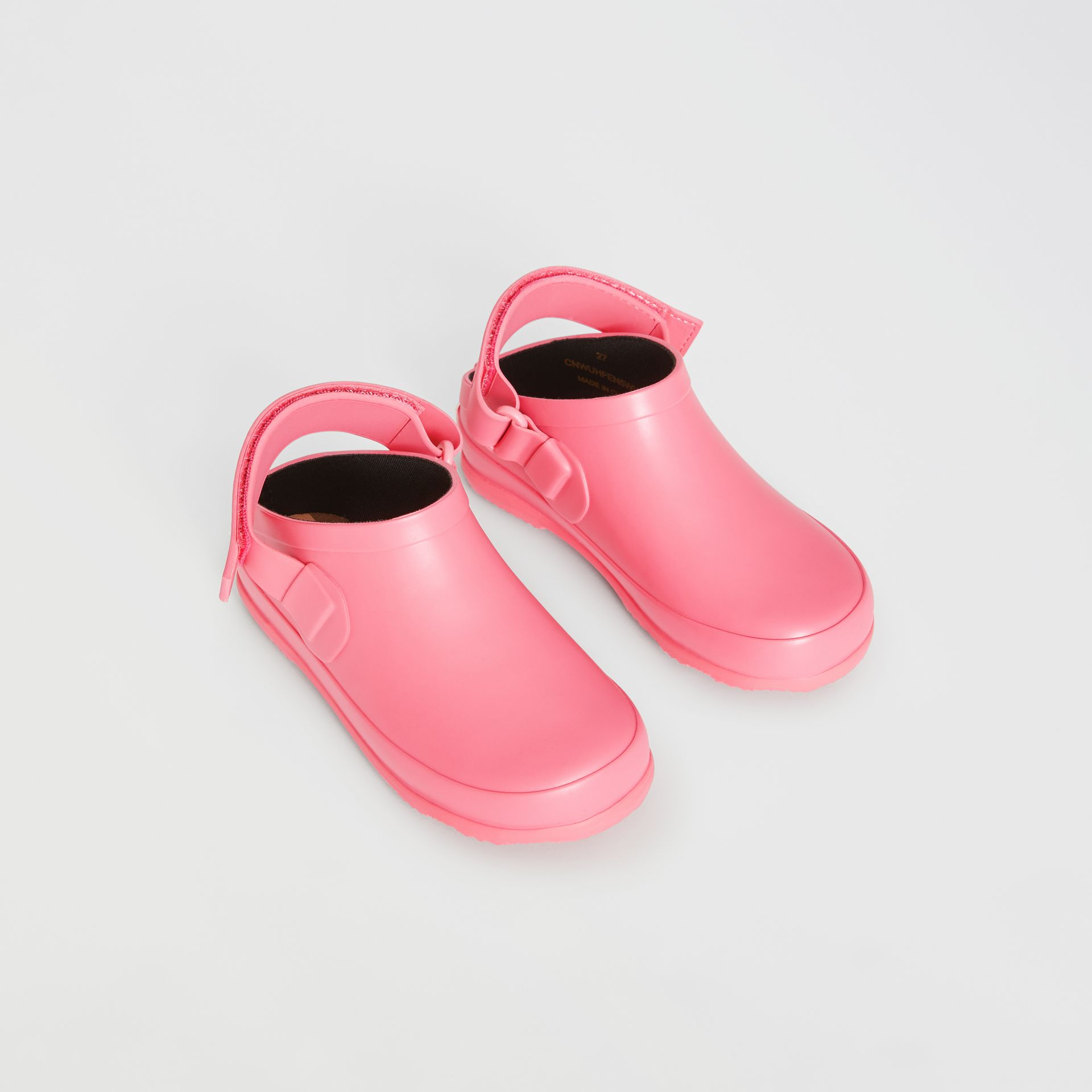 Check Detail Rubber Sandals in Bright Rose - Children | Burberry - gallery image 0