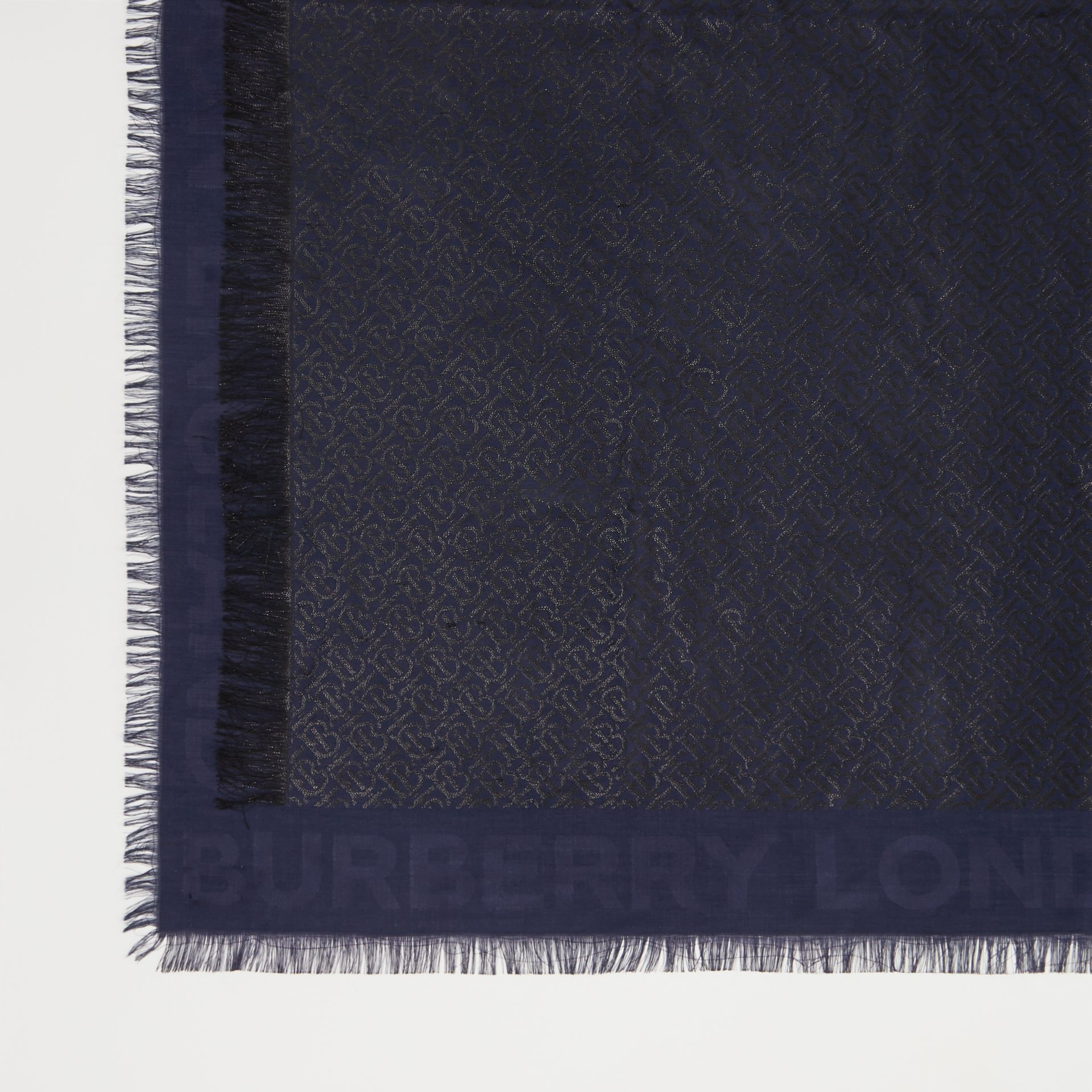 Metallic Monogram Silk Blend Large Square Scarf in Navy/black | Burberry - gallery image 1