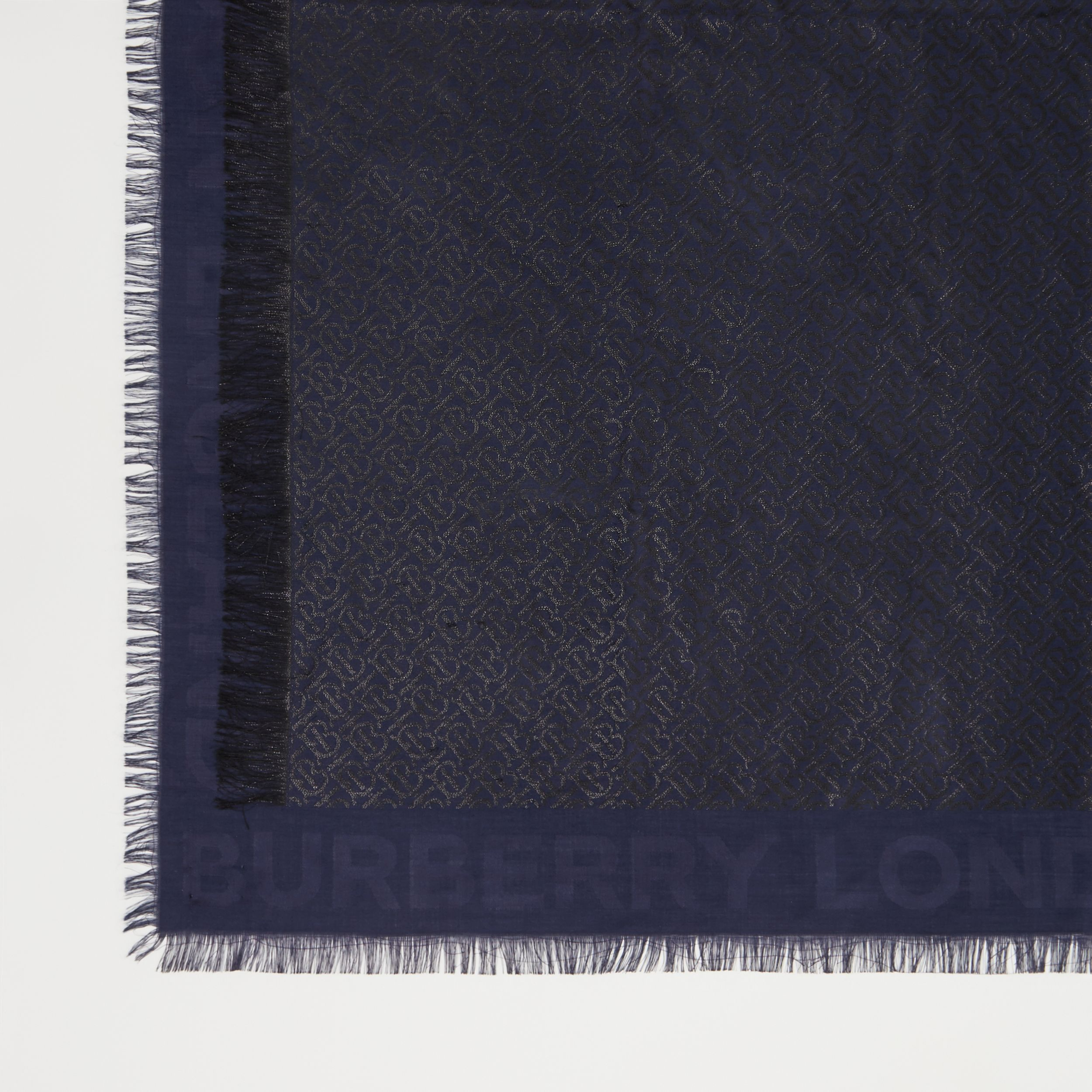 Metallic Monogram Silk Blend Large Square Scarf in Navy/black | Burberry United Kingdom - 2