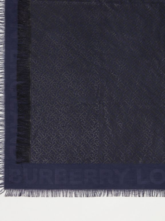 Metallic Monogram Silk Blend Large Square Scarf in Navy/black | Burberry - cell image 1