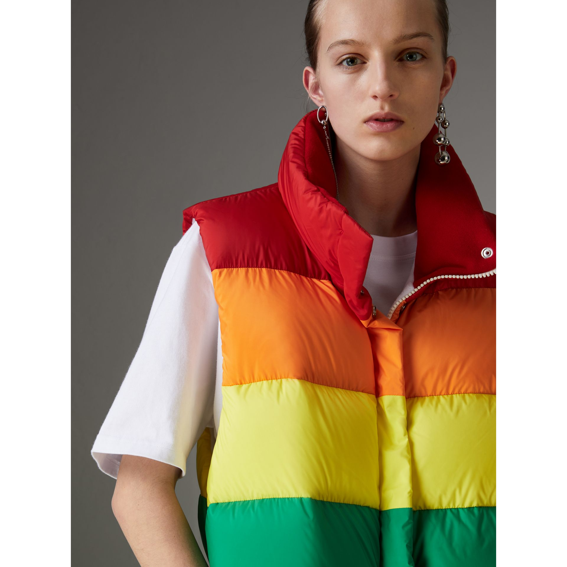 Rainbow Down-filled Gilet in Multicolour - Women | Burberry - gallery image 1