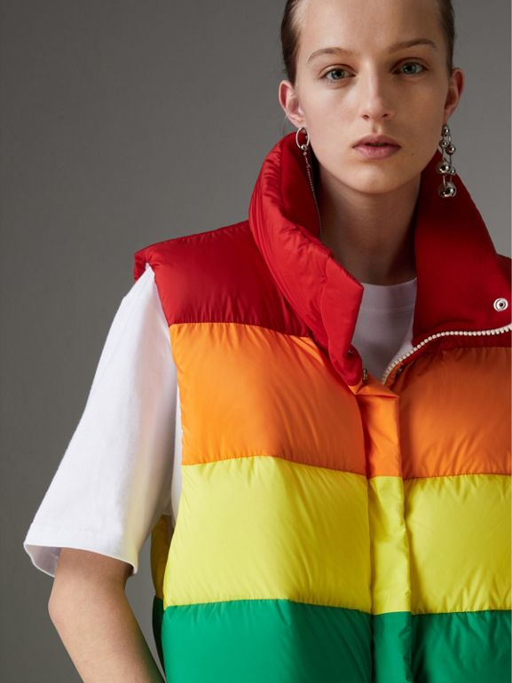 Rainbow Down-filled Gilet in Multicolour - Women | Burberry - cell image 1