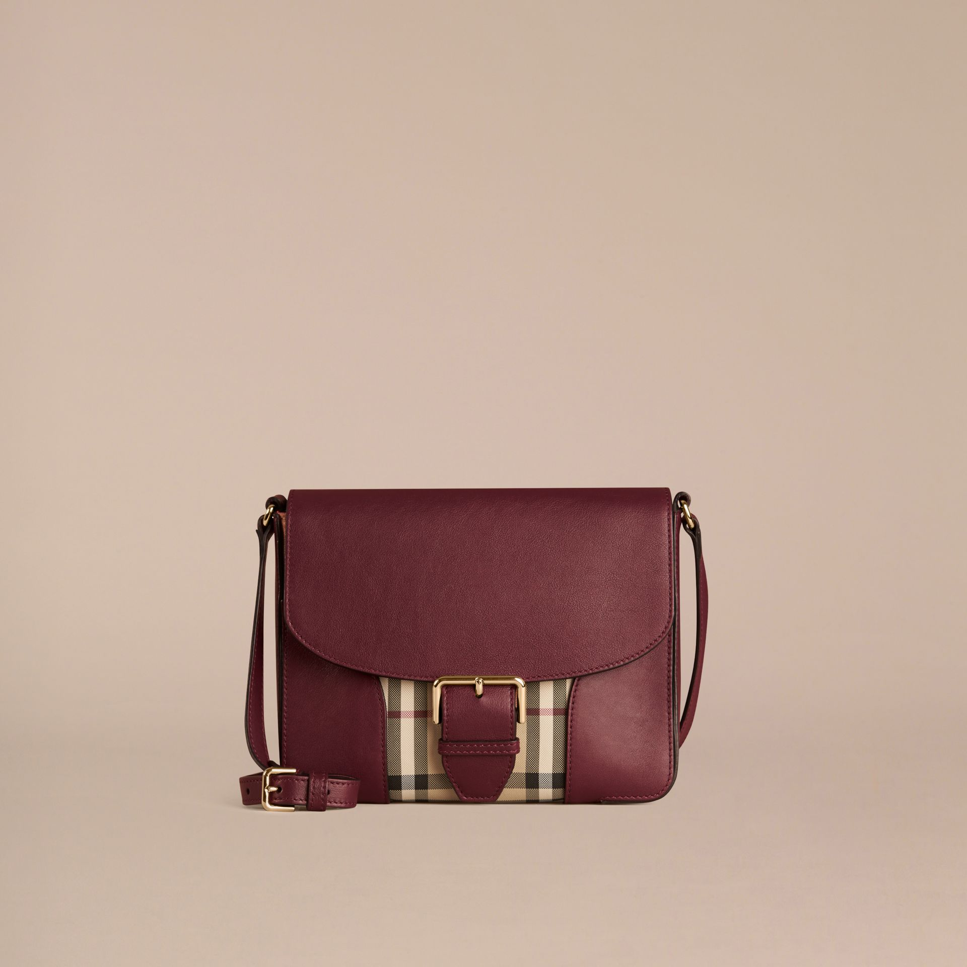 Honey/deep claret Small Horseferry Check and Leather Crossbody Bag Honey/deep Claret - gallery image 6