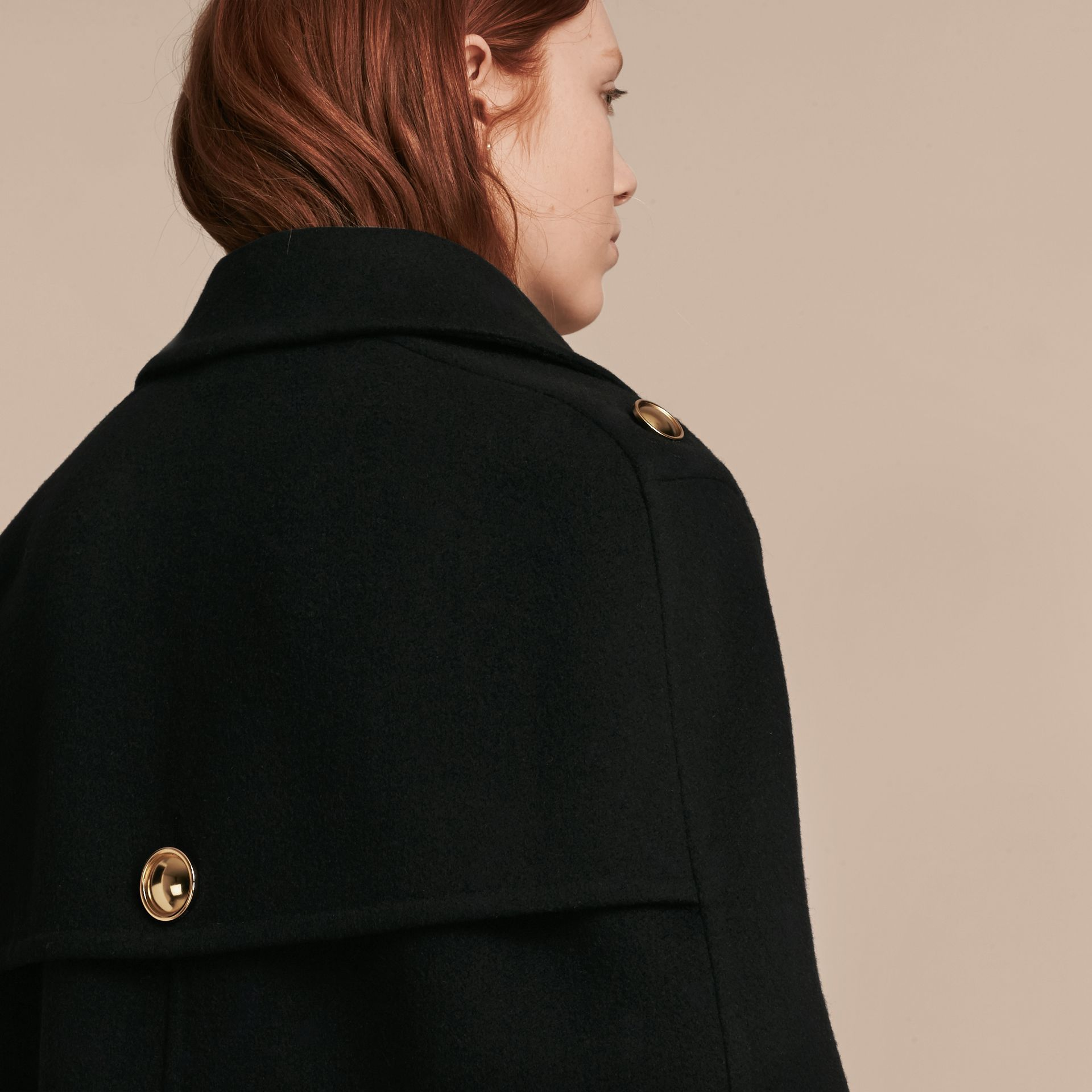 Black Double Cashmere Military Cape - gallery image 6