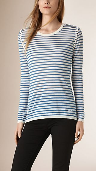 Bead Detail Striped Silk Cotton Sweater