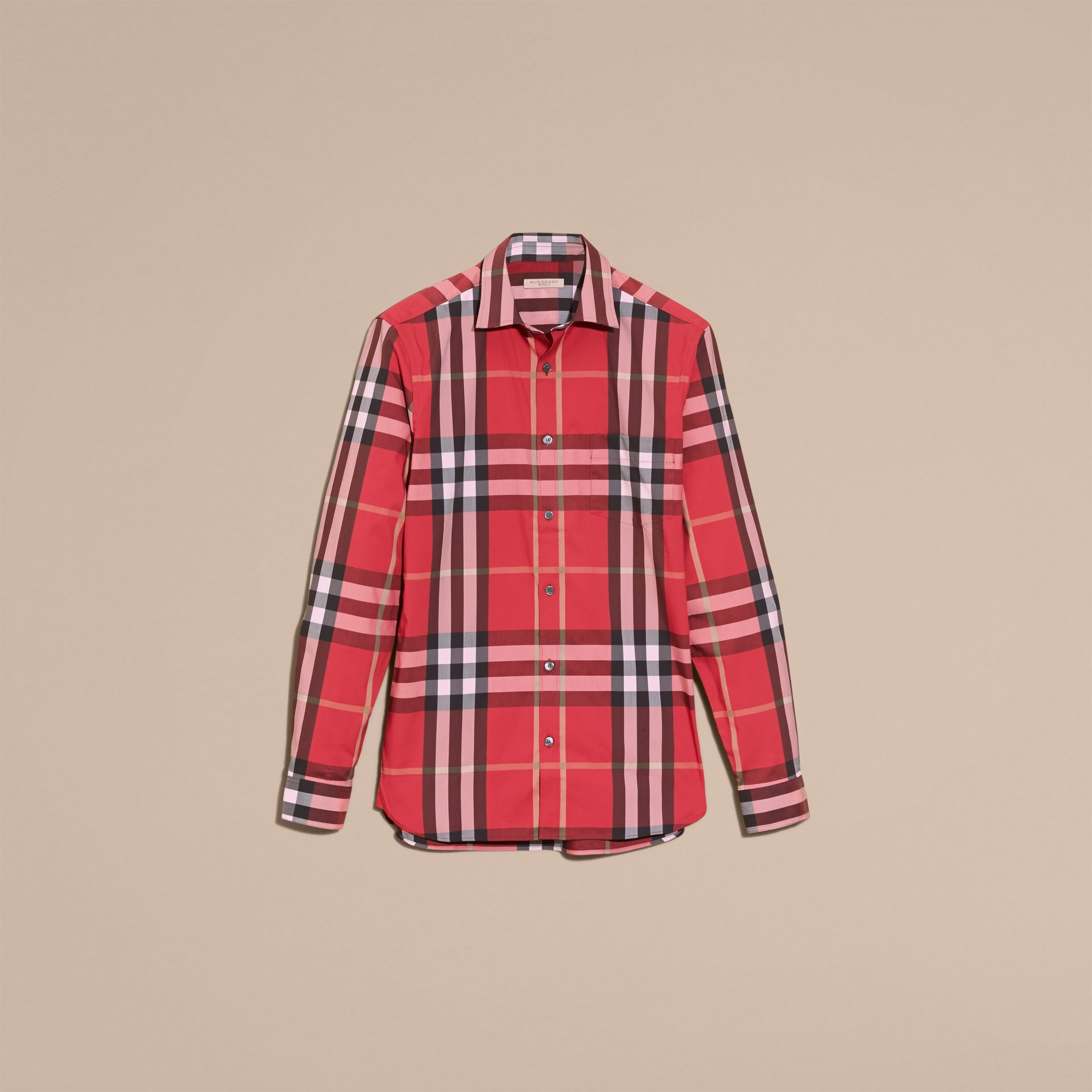 Check Stretch Cotton Shirt in Parade Red - Men | Burberry Canada - gallery image 4