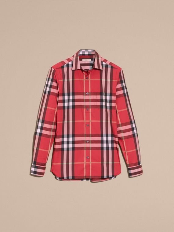 Check Stretch Cotton Shirt in Parade Red - Men | Burberry - cell image 3