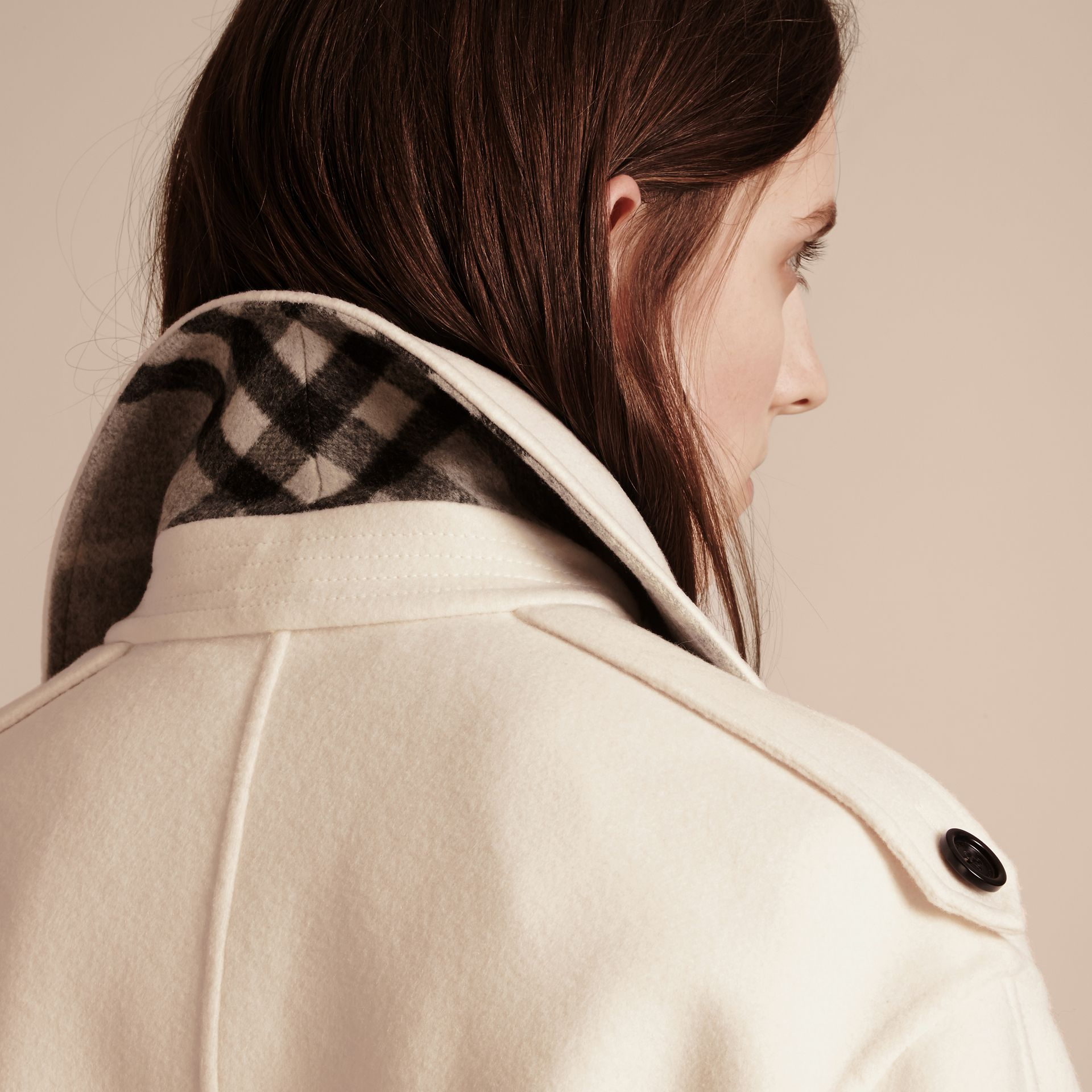 White Cashmere Duffle Coat with Detachable Fur Collar - gallery image 5