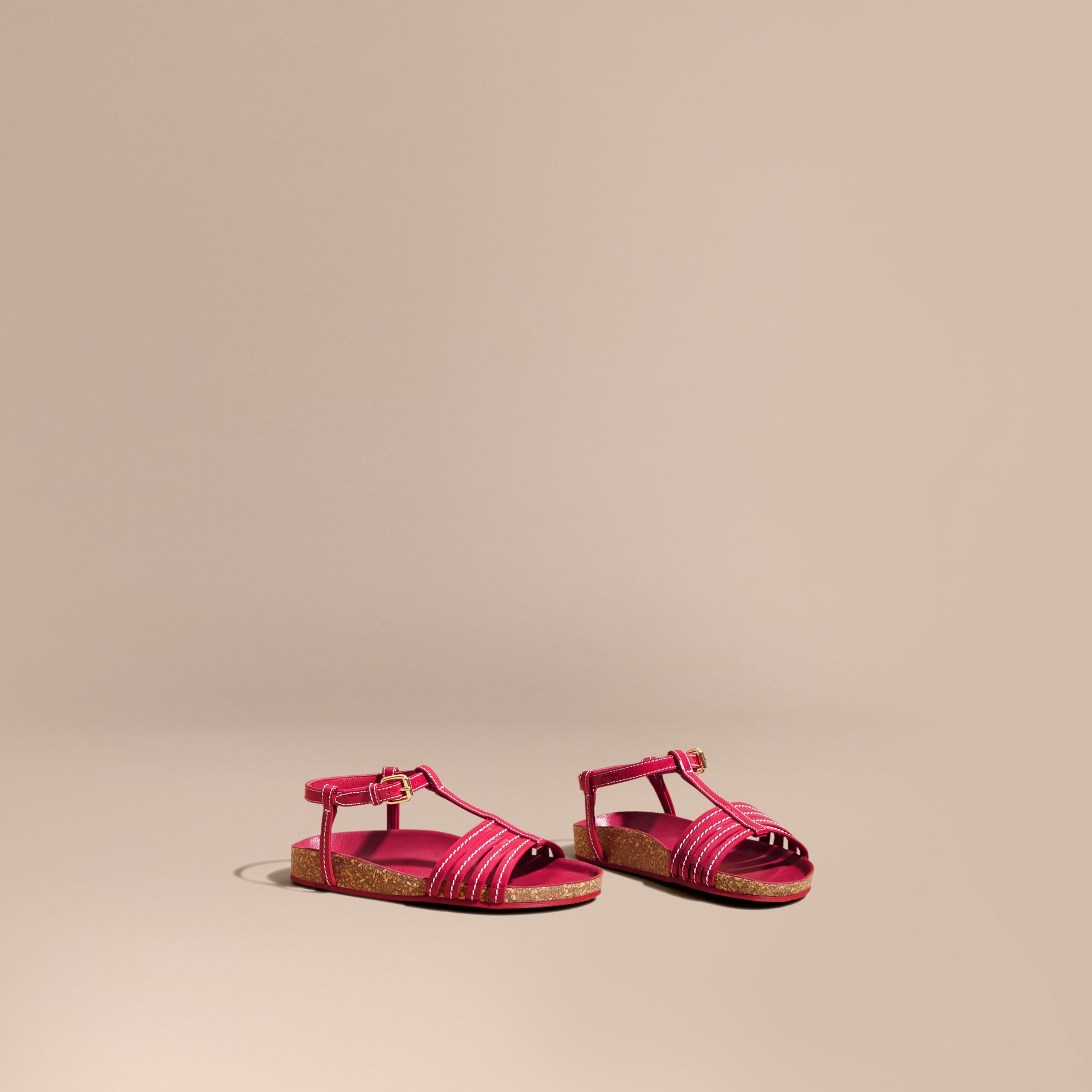 Cork Detail Patent Leather Sandals - Girl | Burberry - gallery image 1