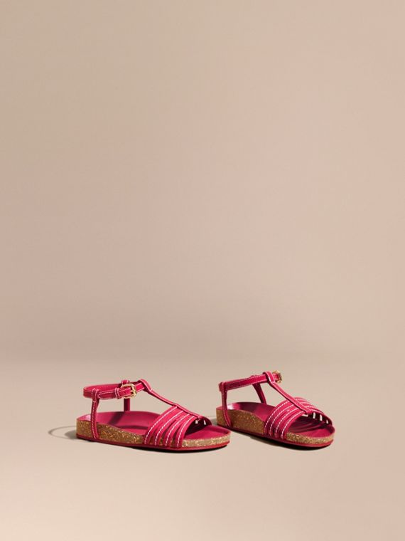 Cork Detail Patent Leather Sandals
