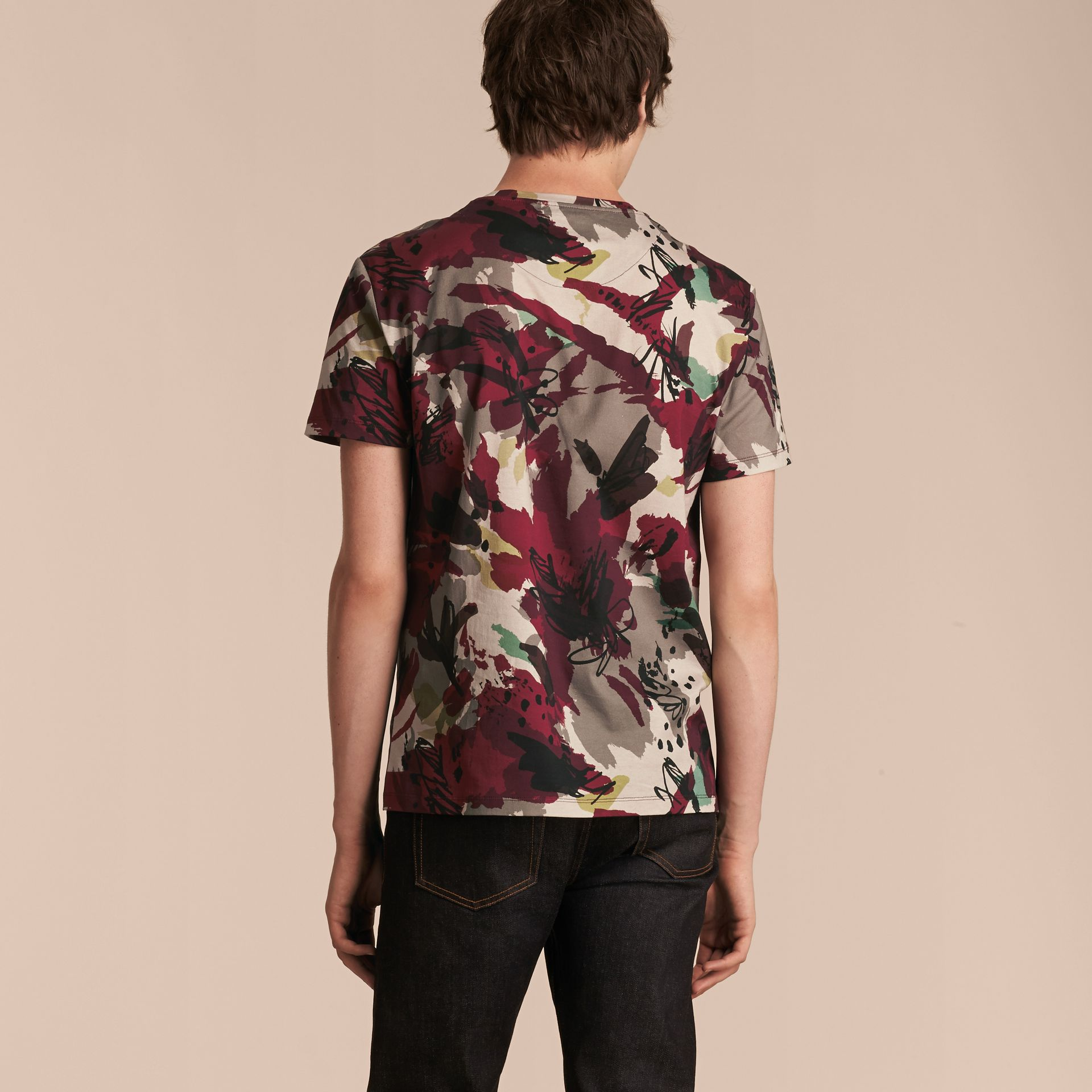 Parade red Abstract Floral Print Cotton T-shirt - gallery image 3