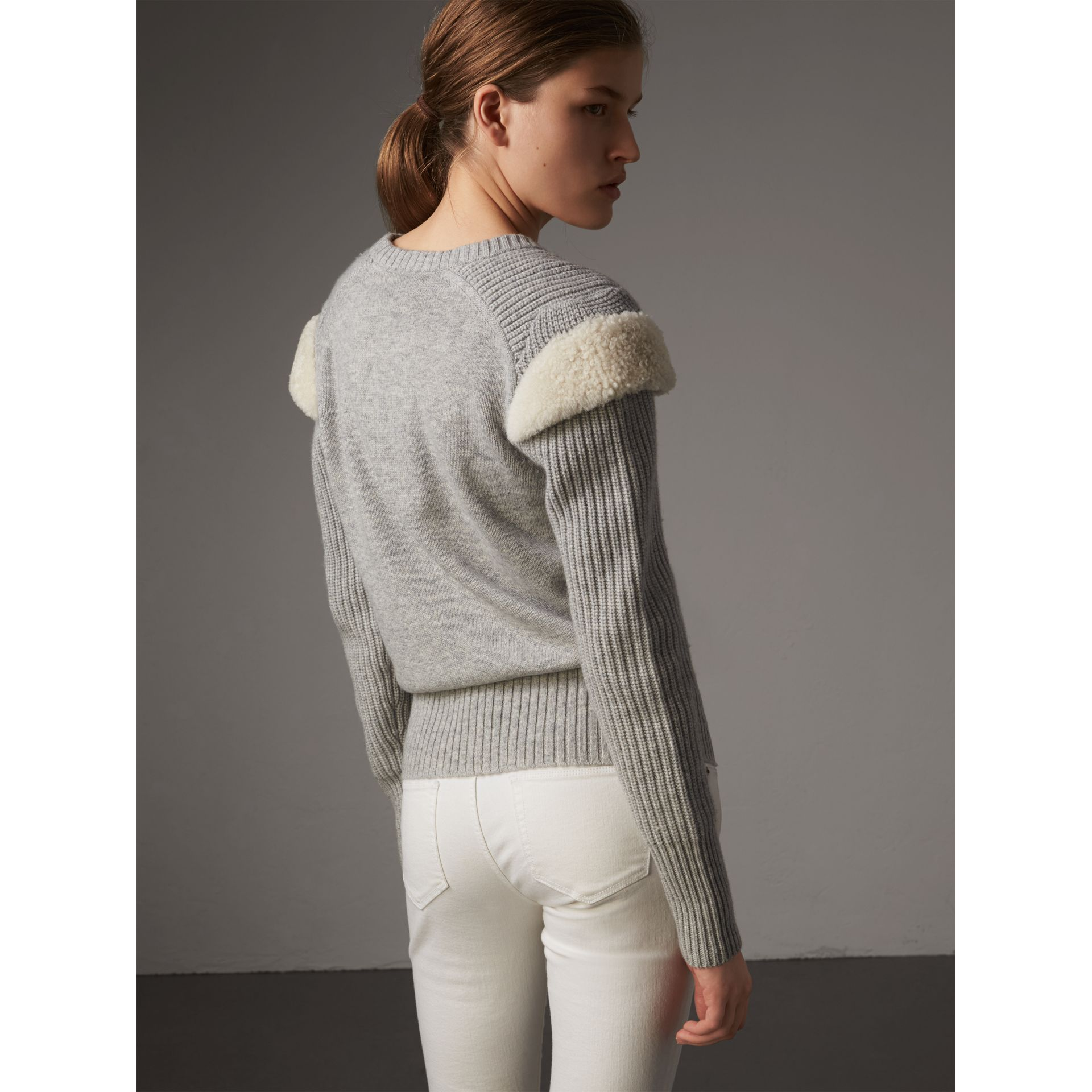 Shearling Trim Ribbed Wool Cashmere Sweater in Pale Grey Melange - Women | Burberry - gallery image 3