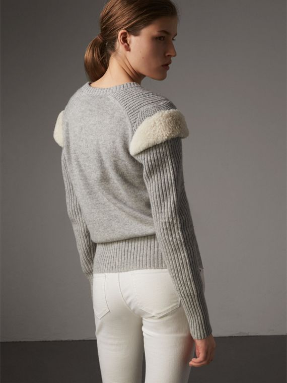 Shearling Trim Ribbed Wool Cashmere Sweater in Pale Grey Melange - Women | Burberry - cell image 2