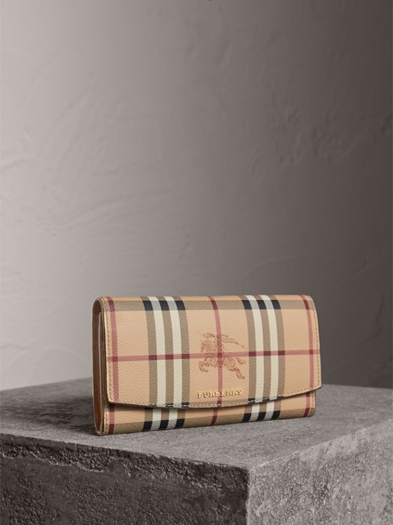 Haymarket Check and Leather Slim Continental Wallet in Mid Camel