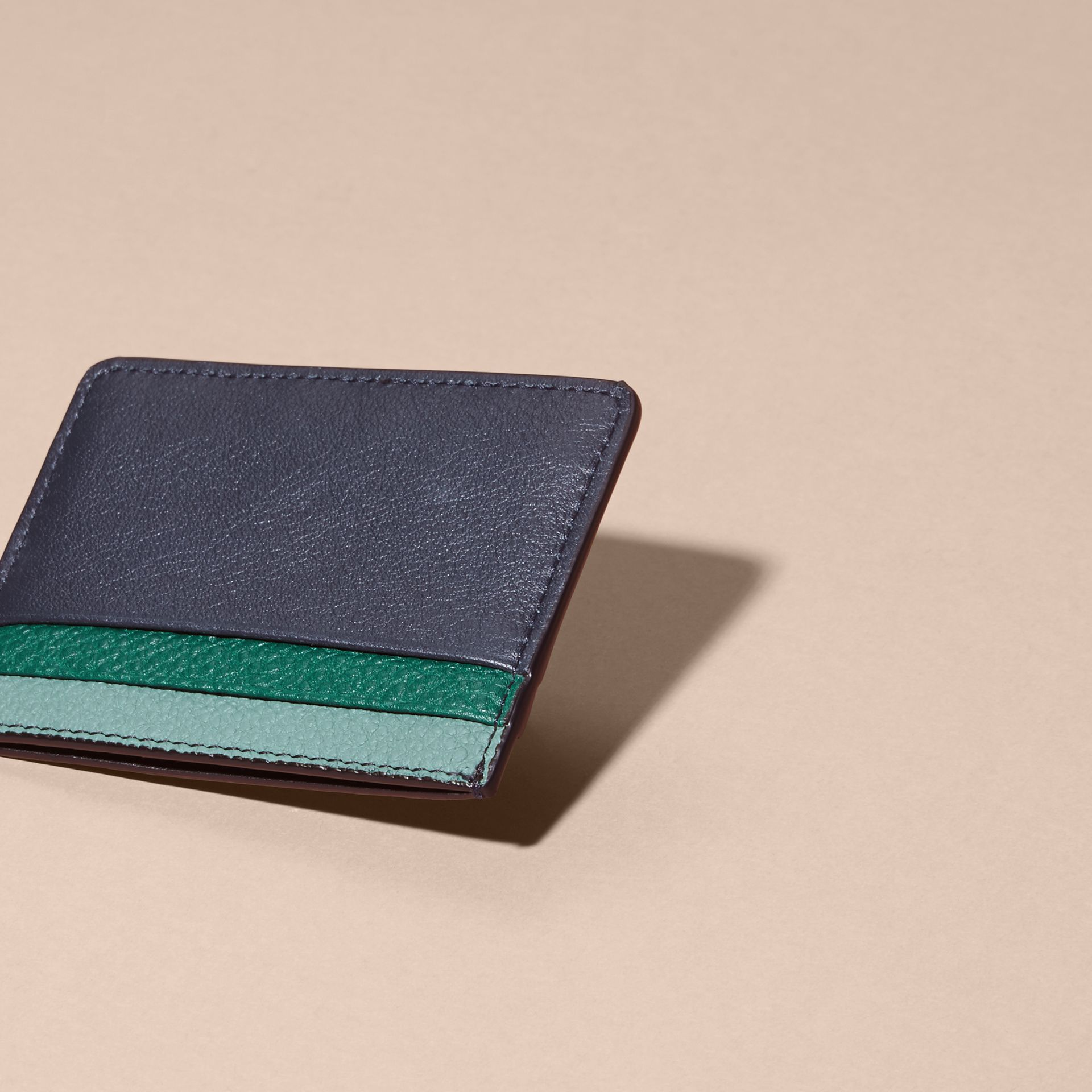 Colour Block Leather Card Case in Blue Carbon - gallery image 4