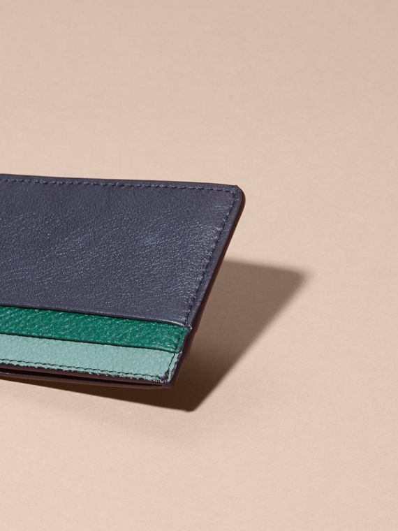 Colour Block Leather Card Case Blue Carbon - cell image 3