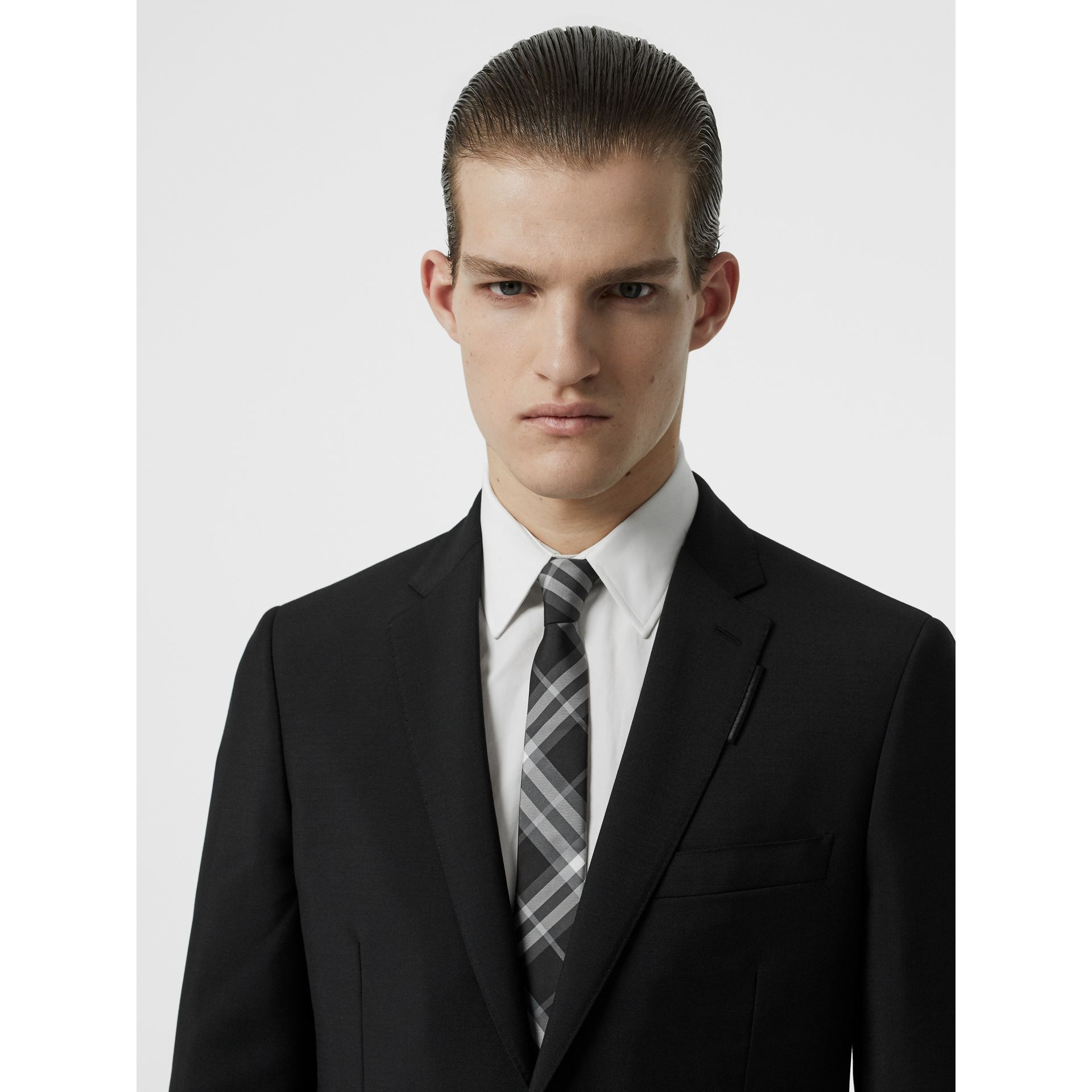Modern Cut Vintage Check Silk Tie in Black - Men | Burberry Singapore - gallery image 2