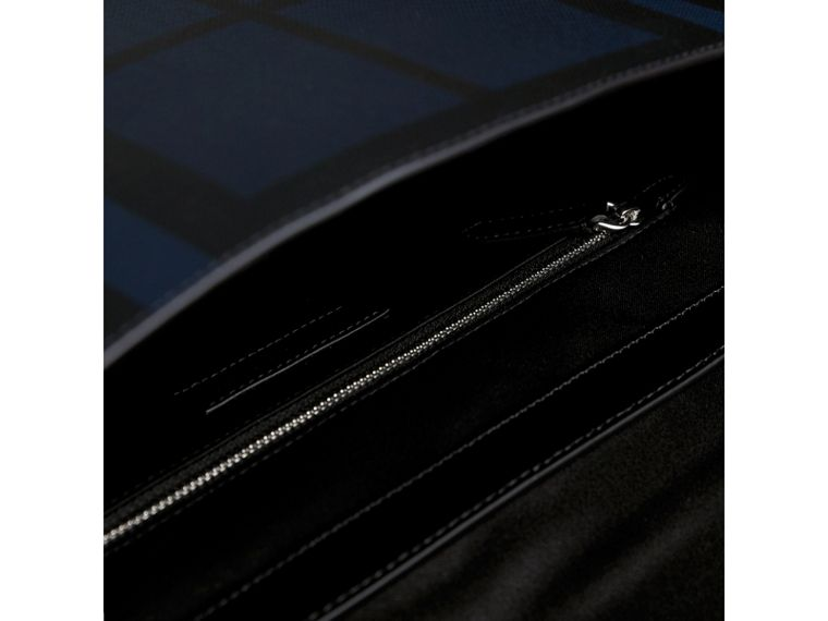 Medium Leather Trim London Check Messenger Bag in Navy/black - Men | Burberry Singapore - cell image 4